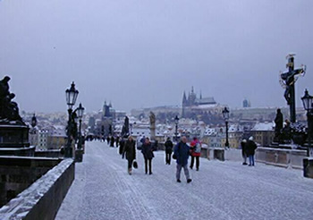 Charles Bridge in Prague at Christmas
